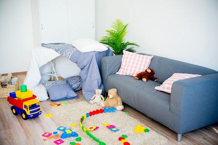 bedroom: Sleepover party concept Stock Photo