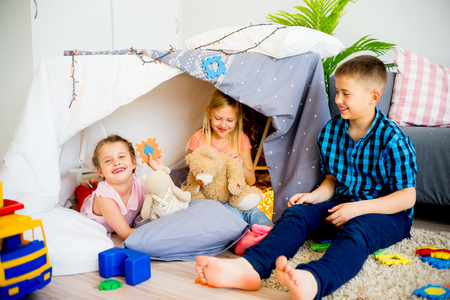 Kids in a play tent