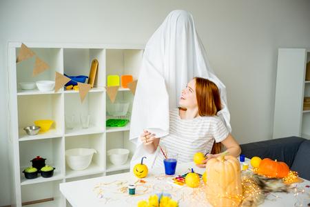 Couple having fun on halloween