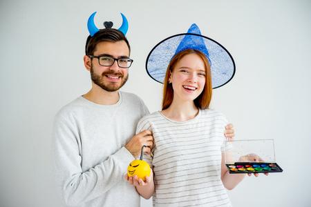 Couple in halloween costumes Stock Photo