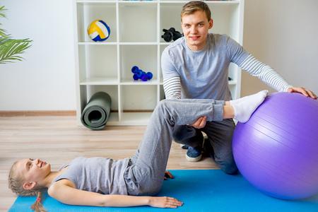 regeneration: Physiotherapists working on rehabilitation