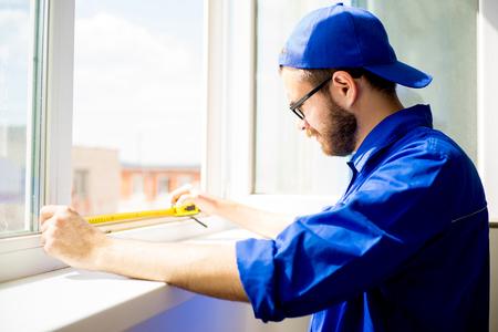 Window installation worker Stock Photo