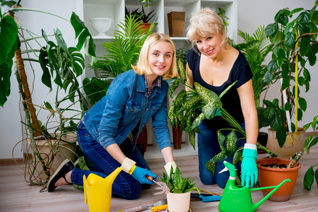 Mother and daughter working in garden Stock Photo