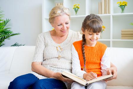 grandaughter: Grandmother and grandaughter Stock Photo