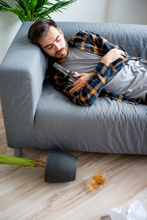 drunkard: Alcoholic drunkard man Stock Photo