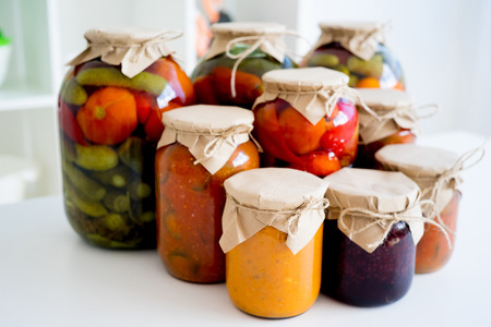 Jars with pickled vegetables Stock Photo