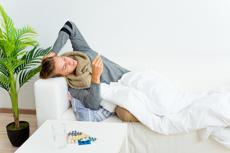 Guy having flu Stock Photo