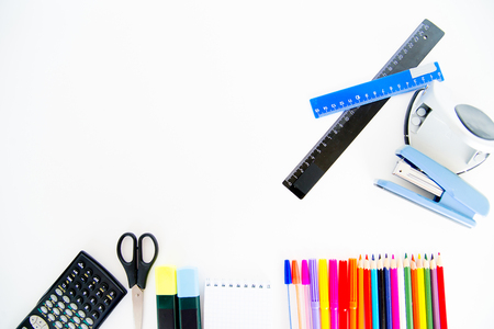 An image of different school objects on a table Stock Photo