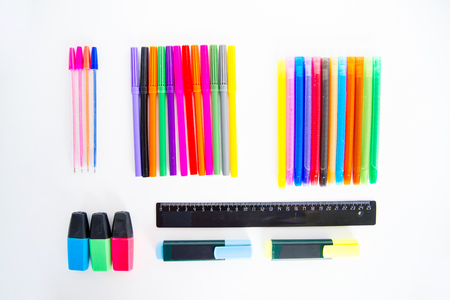 An image of different school objects on a table Standard-Bild