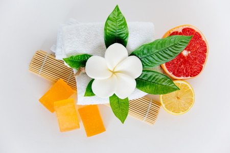 An image of different spa things on a table