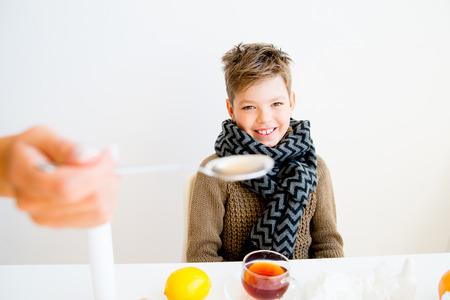 compress: Boy having flu