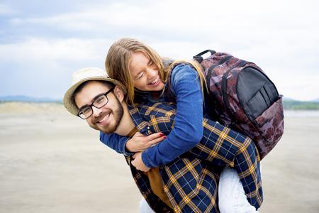 Travelers in a desert