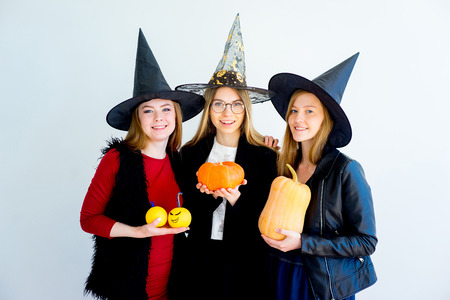 Girls celebrating halloween