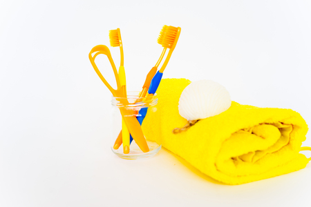 An image of several toothbrushes on a white background Stock Photo