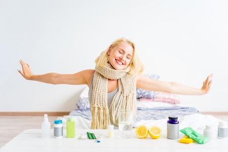 Girl having flu Standard-Bild