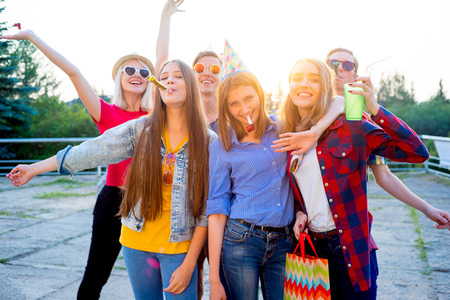 Teens having a party Stock Photo