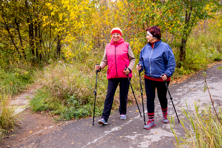 Seniores senhoras nórdicas andando Foto de archivo