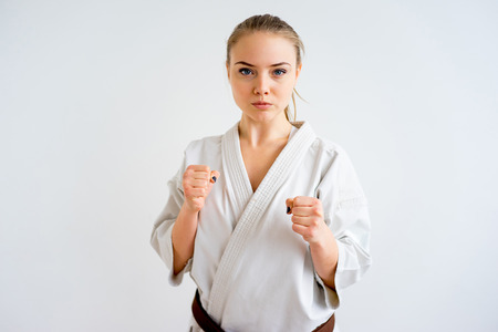 Karate girl training Stock Photo
