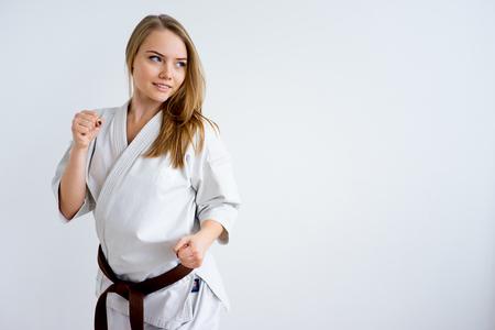Karate girl training Stock Photo
