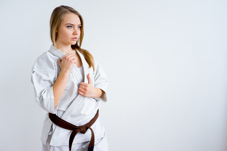 Karate girl training Foto de archivo