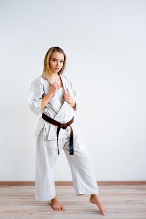 Karate girl training 版權商用圖片