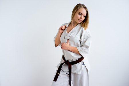 Karate girl training 스톡 콘텐츠