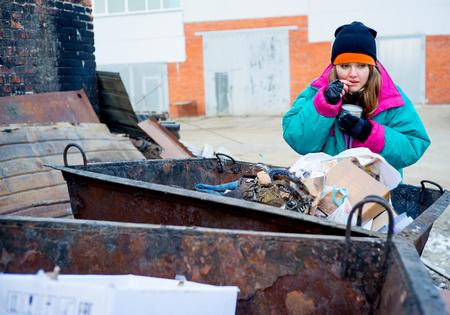Homeless woman bum