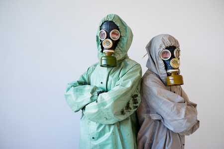 Pessoas, gás, máscaras Foto de archivo - 92612844