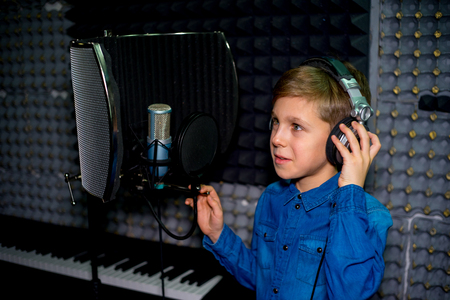 Boy in a recording studio