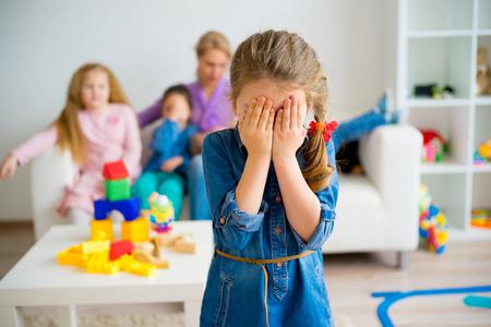 Sad girl in kinderarten