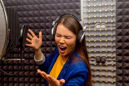 Musician in a recording studio Stock Photo