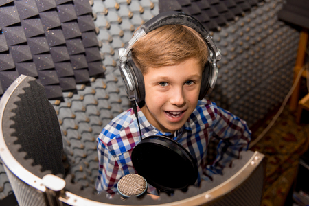 Boy in a recording studio
