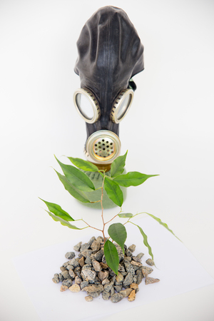 An image of gas mask on a table
