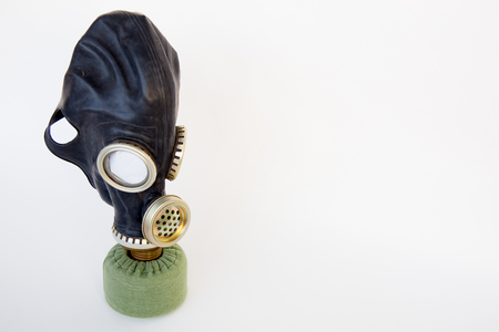 Gas mask on a table Stock Photo