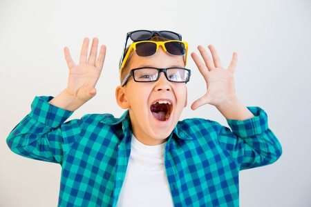 kid wearing glasses Stock Photo