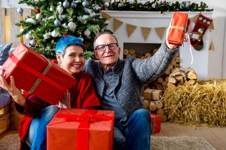 Senior couple cuddling Stock Photo