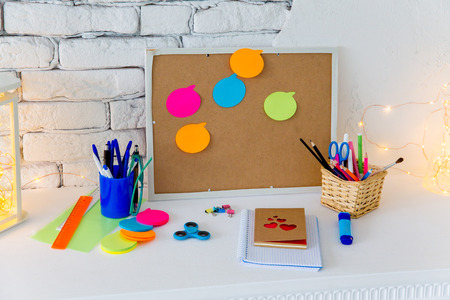 Cork board with notes, clipping path included