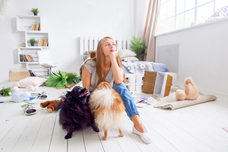 dogs in the middle of mess they created at home