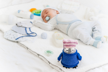 cute newborn baby on the first months of life Stock Photo