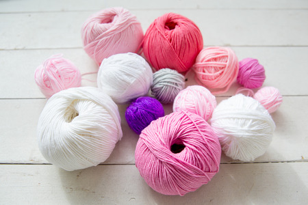 Colorful balls of knitting yarn. Color yarn for knitting