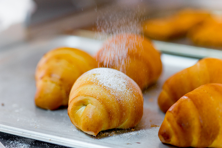 different kinds of pastry in a modern bakery Stock Photo