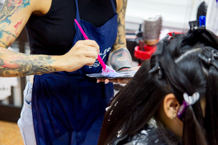 Professional hairdresser working with client in salon Banco de Imagens