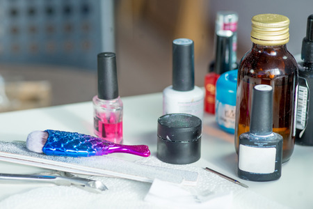 different things for manicure on a table 写真素材