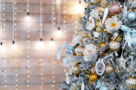 Christmas living room with a christmas tree and presents under it Stock Photo