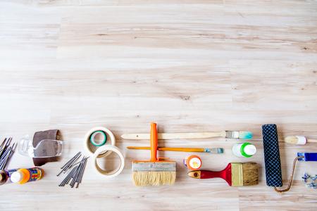 a set of construction tools or instruments Banque d'images