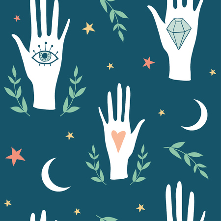 Vector witch magic seamless pattern with eyes, hands, moon and stars. Palmistry hand drawn, doodle, sketch texture