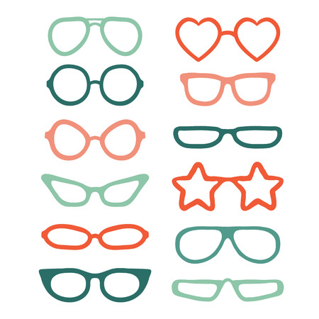Colorful glasses isolated on white background. Flat vector illustration. Collection of different glasses types hipster, retro, vintage, modern, classic.
