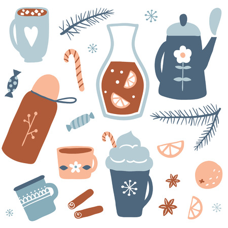 Hot drinks set. Autumn and winter holidays. Christmas beverage collection. Vector illustration with tea, hot chocolate, cocoa with marshmallow and mulled wine.