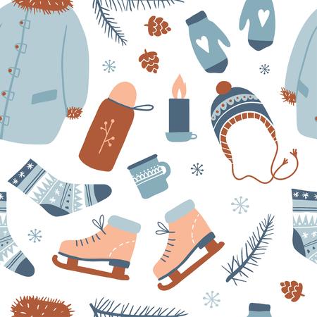 Modèle sans couture d'activités hivernales. Vêtements d'hiver douillets et autres articles : patins à glace, pin, thé, chaussettes, mitaines. Fond de dessin à la main avec des griffonnages, style cartoon. Illustration vectorielle. Texture du nouvel an