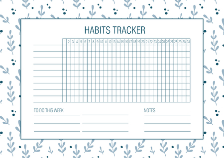 Habit tracker blank with Hand drawn floral texture. Bullet journal template. Monthly planer. Vector illustration. Abstract flowers. Botany. Printable organizer, diary, planner for important goals